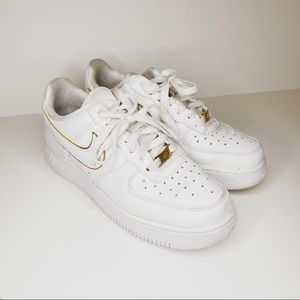Womens Nike Air Force One Gold Trim size 7